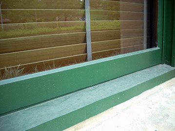 Repaired rotten sill.